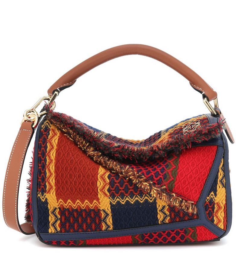 Loewe Puzzle Small leather-trimmed tartan bag in red