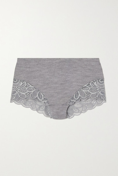 Hanro - Karla Lace-trimmed Ribbed Wool And Silk-blend Briefs - Gray