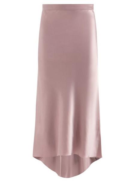 Raey - Bias Godet Silk Satin Midi Slip Skirt - Womens - Dusty Pink