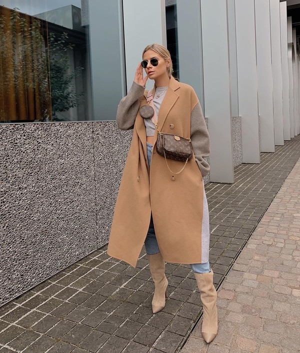 coat oversized coat double breasted acne studios suede boots skinny jeans crop tops louis vuitton bag