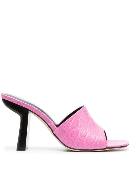 BY FAR croco-embossed mules in pink