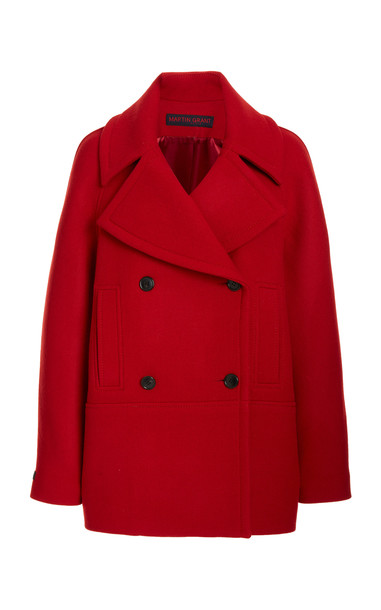 Martin Grant Wool Double-Breasted Pea Jacket in red