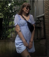 dress,button front,sheer sleeve,mini dress,baby blue,milkmaid,ruffle dress,button front dress