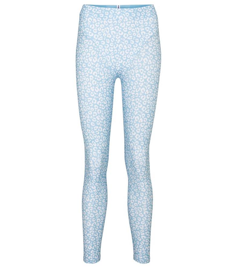 Adam Selman Sport French Cut leopard-print leggings in blue