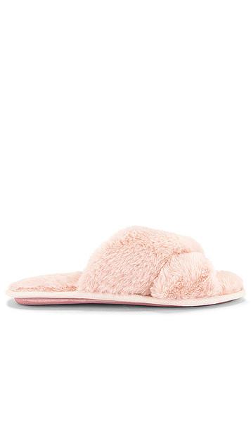 Flora Nikrooz Victoria Teddy Criss Cross Slipper in Pink