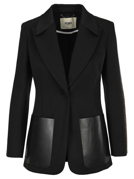 Fendi Oversized Leather Pockets Blazer in black