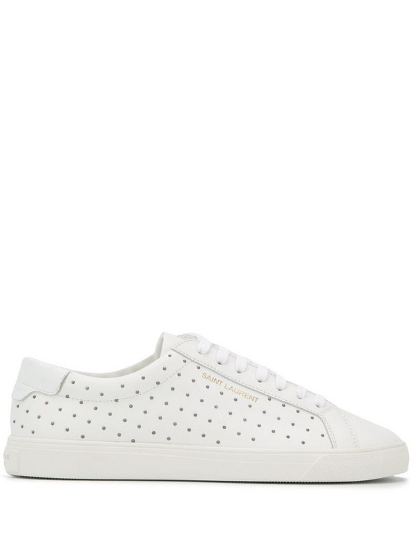 Saint Laurent Andy studded sneakers in white