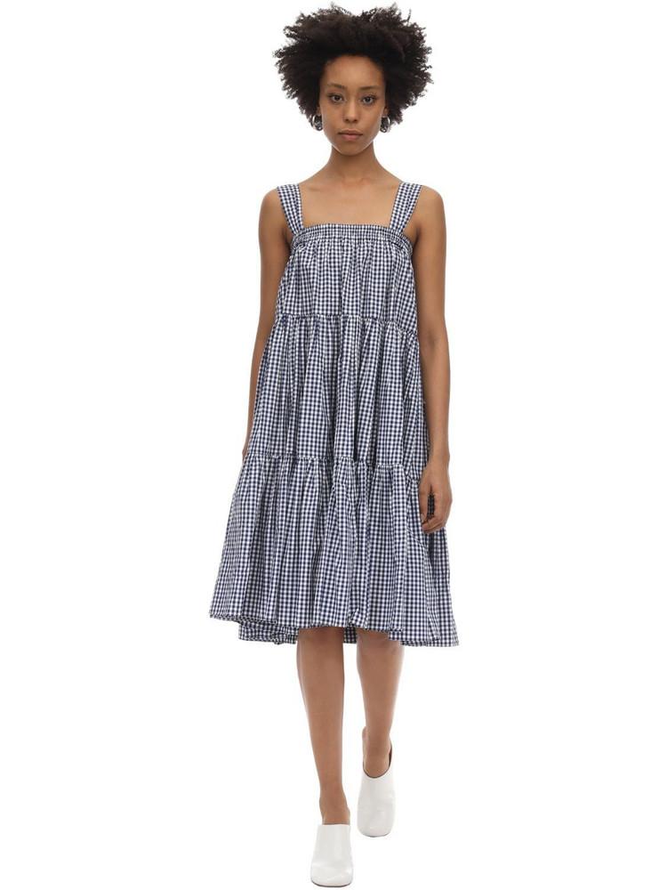 BATSHEVA Amy Printed Cotton Ruffled Dress & Skirt in blue / white
