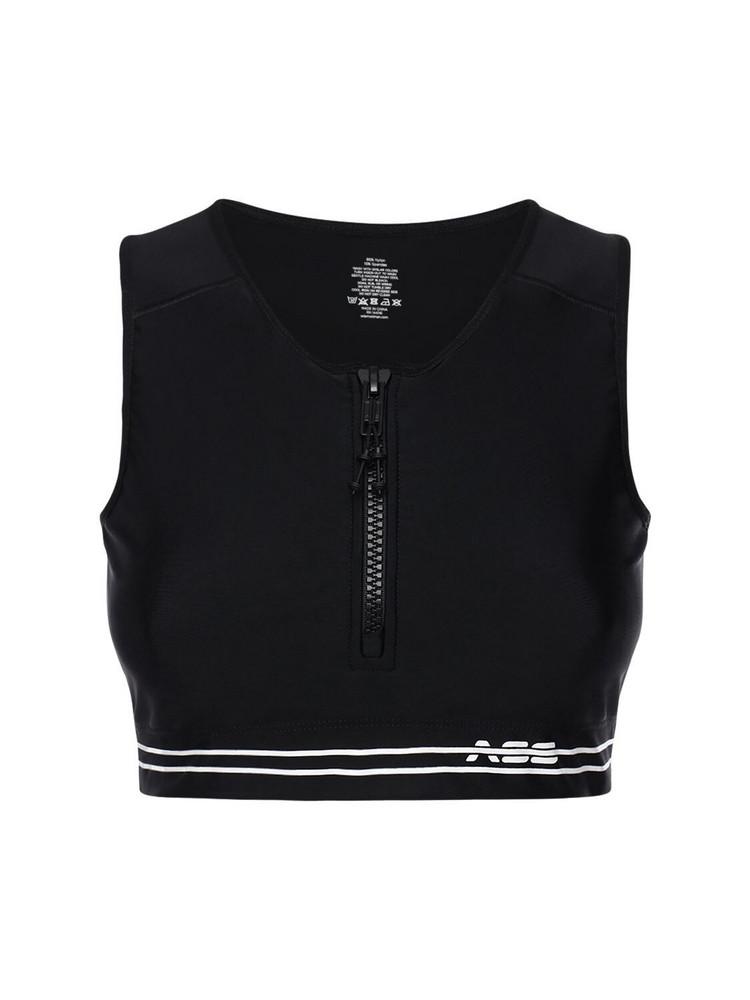 ADAM SELMAN SPORT Zip-up Crop Top in black