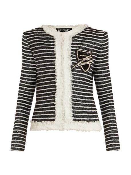 Balmain - Striped Tweed Jacket - Womens - Black White