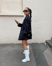 shoes,knee high boots,blazer,prada bag