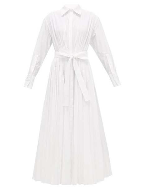 Valentino - Pleated Cotton-blend Maxi Shirtdress - Womens - White