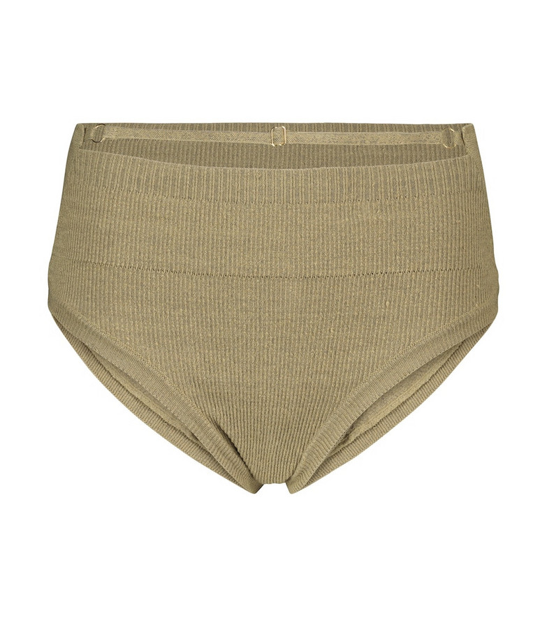 Jacquemus La Culotte Picchu stretch linen-blend briefs in green