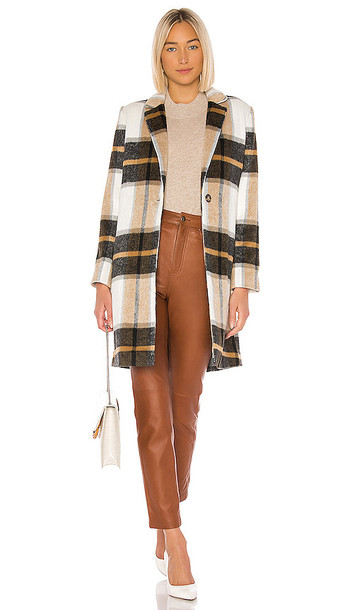 cupcakes and cashmere Cher Check Blazer Coat in Brown