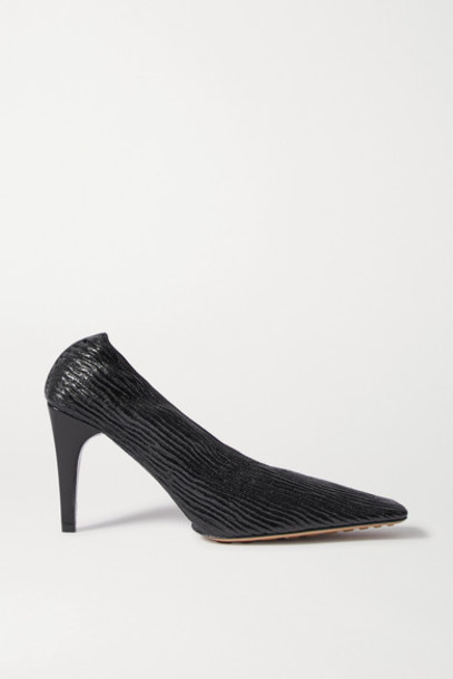 Bottega Veneta - Textured Glossed-leather Pumps - Black