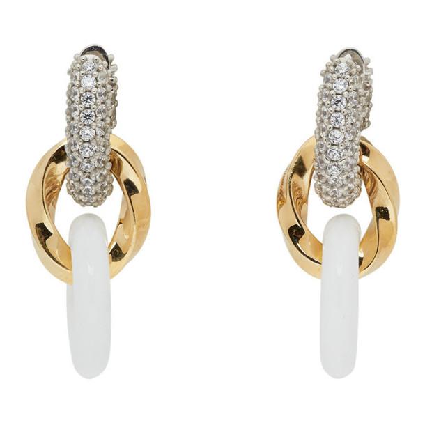 Bottega Veneta Gold and White Drop Chain Earrings