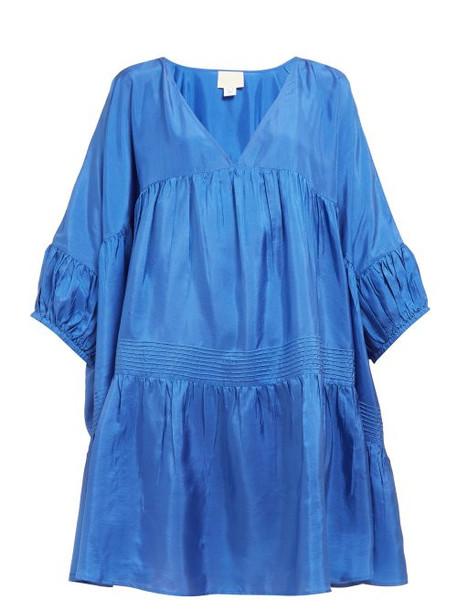 Anaak - Airi Gathered Silk Satin Dress - Womens - Blue