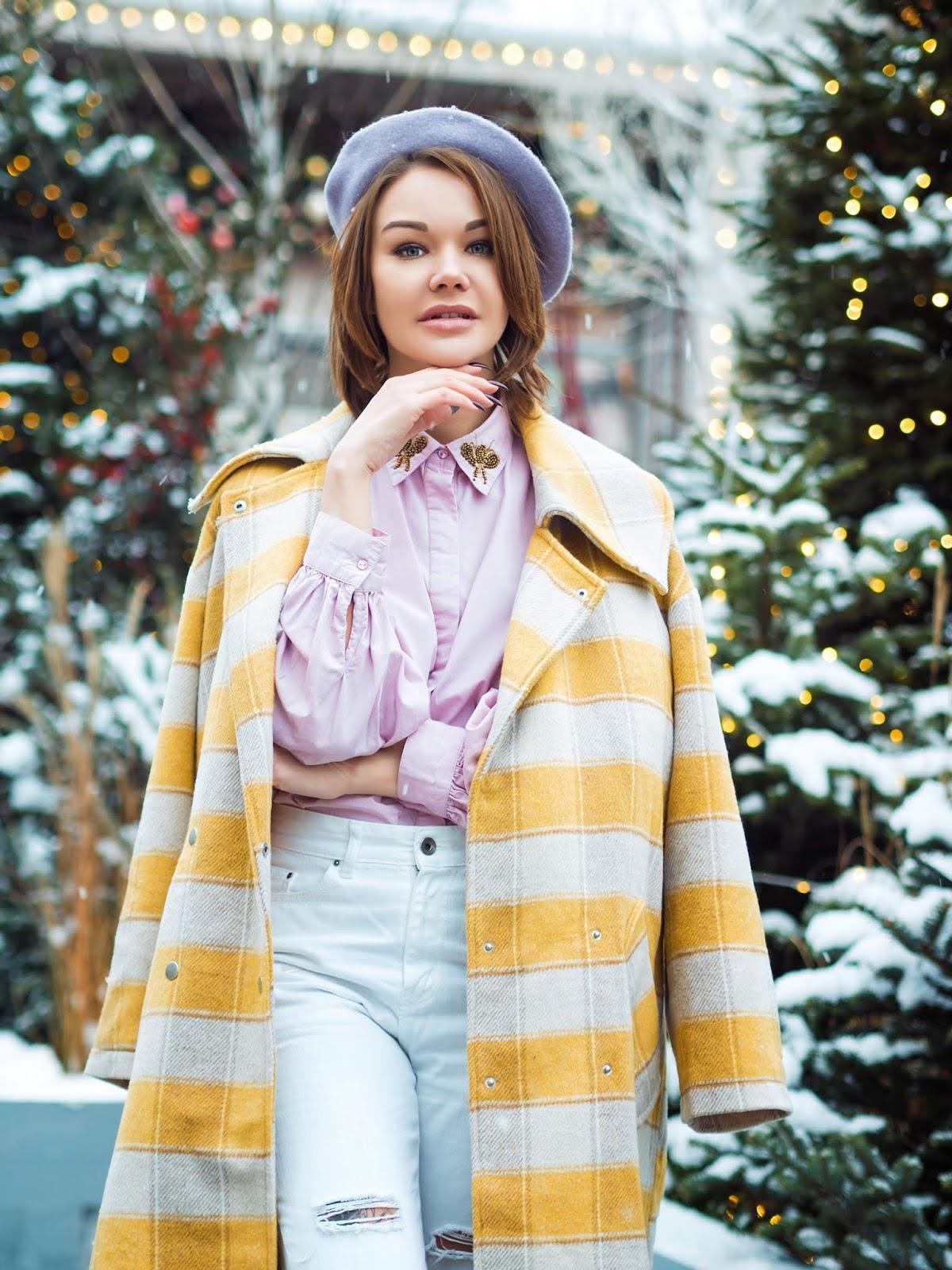 gvozdishe blogger coat shirt jeans shoes bag beret pink shirt winter outfits