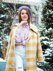 gvozdishe,blogger,coat,shirt,jeans,shoes,bag,beret,pink shirt,winter outfits