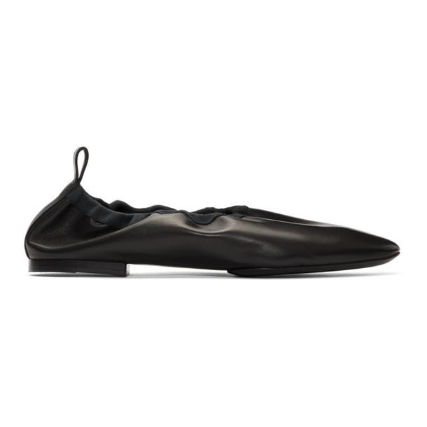 Jil Sander Black Leather Ballerina Flats