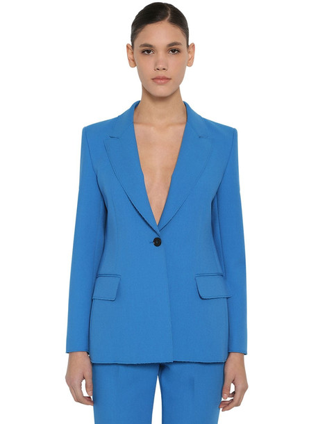 MSGM Double Crepe Blazer in blue