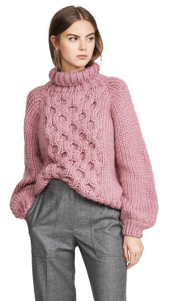 I Love Mr Mittens Honeycomb High Neck Sweater in rose
