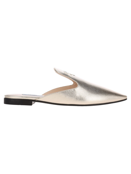 Prada Flat Leather Mules With Logo in gold