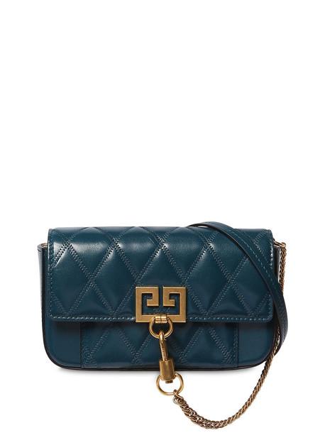 GIVENCHY Mini Pocket Quilted Leather Shoulder Bag in blue