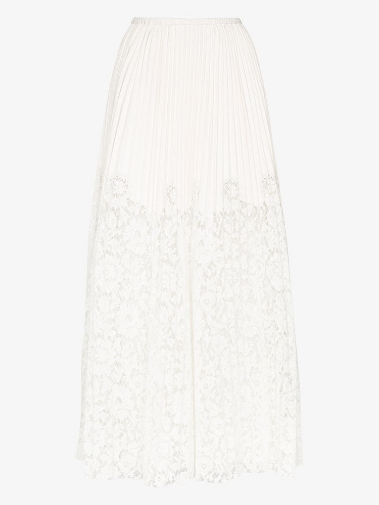 Valentino lace pleated leather maxi skirt in white