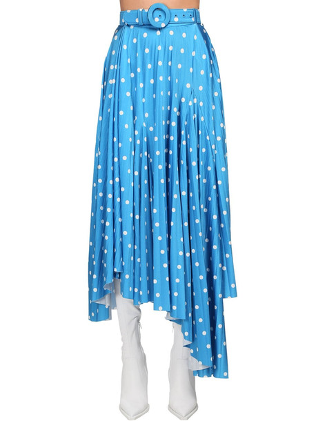 BALENCIAGA Polka Dot Print Satin Midi Skirt in blue / white