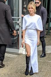 dress,asymmetrical,asymmetrical dress,kristin cavallari,boots,black and white,celebrity