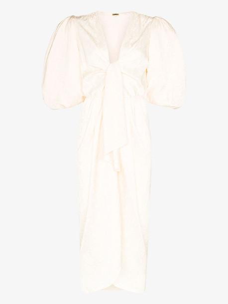 Johanna Ortiz Everblooming jacquard V-neck midi dress in neutrals