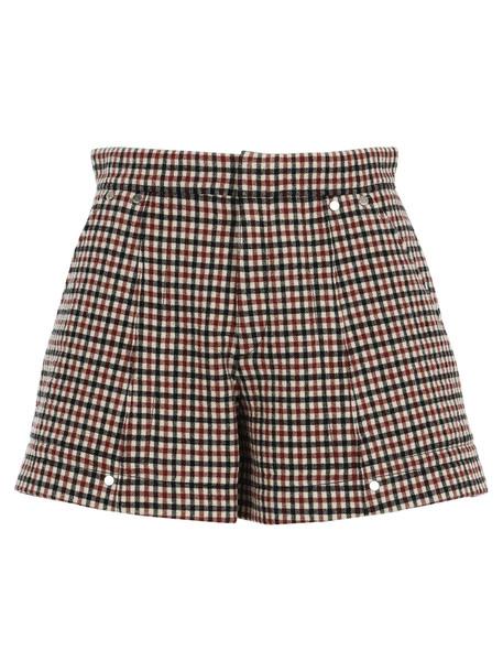 Chloé Chloe Check Shorts in camel / red