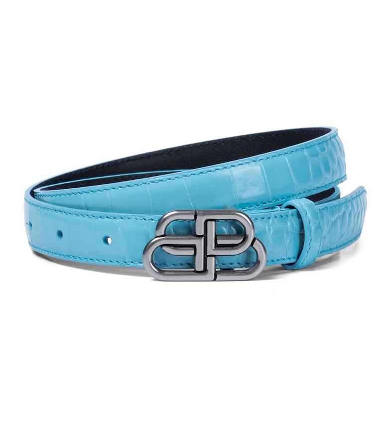 Balenciaga BB leather belt in blue