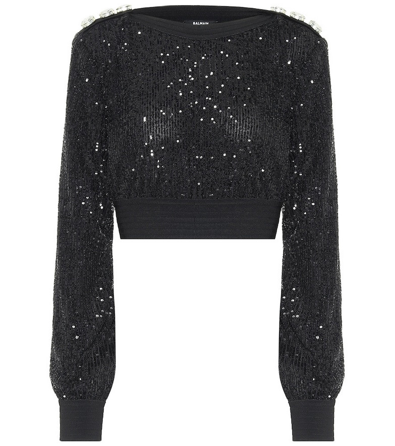 Balmain Sequined cropped sweater in black