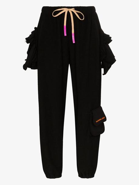 Natasha Zinko frilled cotton sweatpants in black