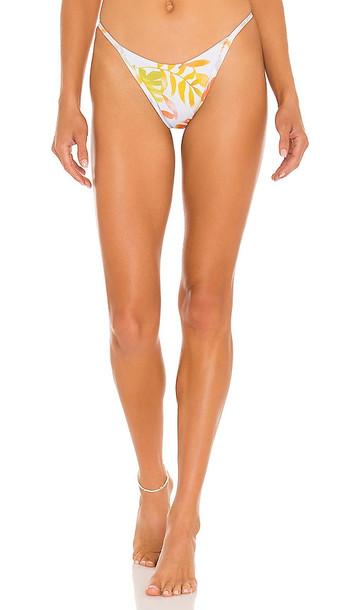 L*SPACE Jay Bikini Bottom in White,Orange
