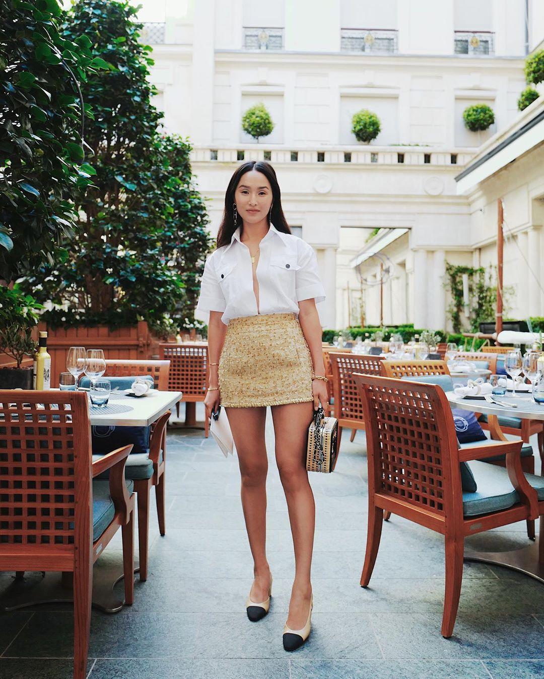 skirt mini skirt high waisted skirt chanel slingbacks handbag white shirt