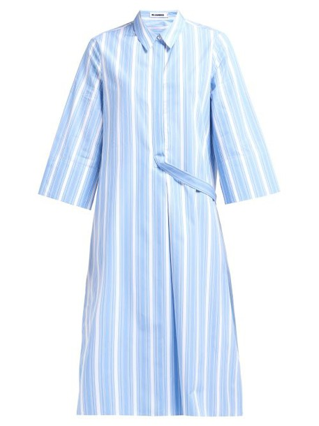 Jil Sander - Striped Cotton Shirtdress - Womens - Blue Stripe