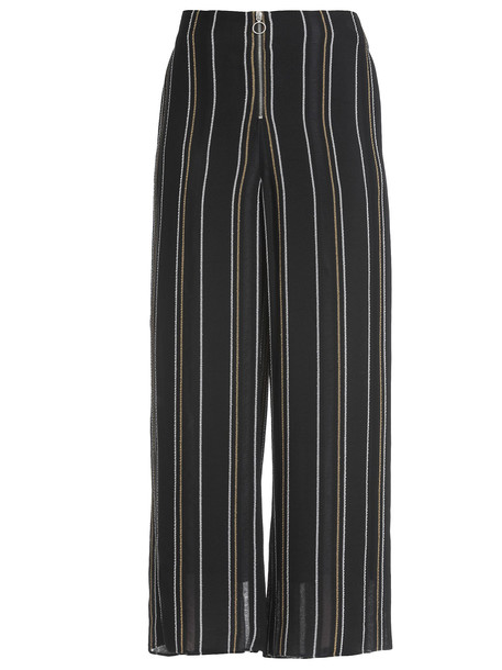 Proenza Schouler Crepe Striped Trousers in black