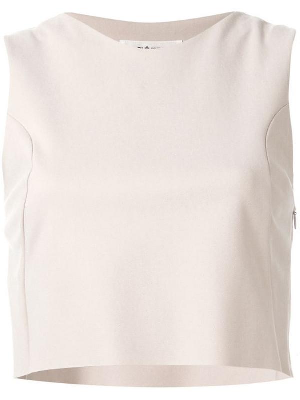 sulvam sleeveless tailored top in brown
