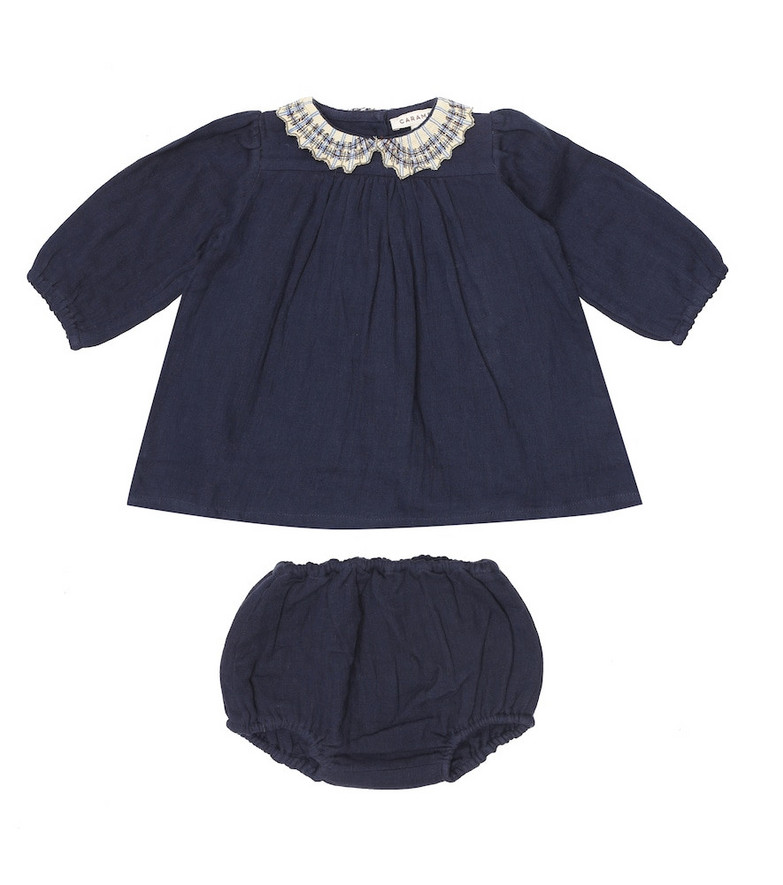 Caramel Baby Mallard cotton blouse and bloomers set in blue