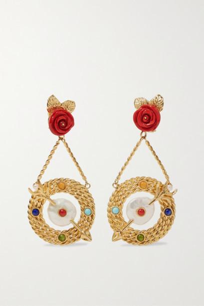 Of Rare Origin - Bull's-eye Gold Vermeil Multi-stone Earrings