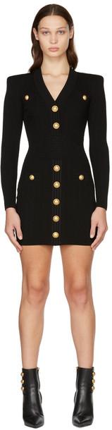 Balmain Black Rib Knit Buttoned Long Sleeve Dress in noir