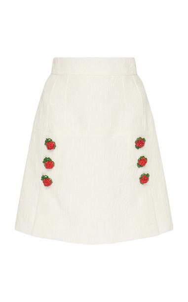 Dolce & Gabbana Rose-Embellished Textured Jacquard Mini Skirt in white