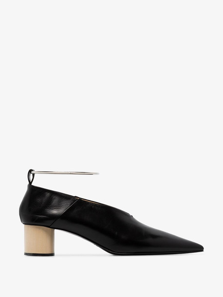Jil Sander black 45 anklet leather pumps