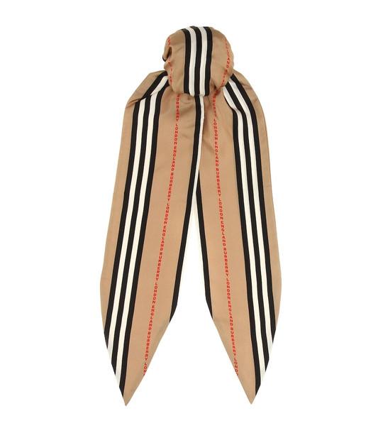 Burberry Icon Stripe silk scarf in beige