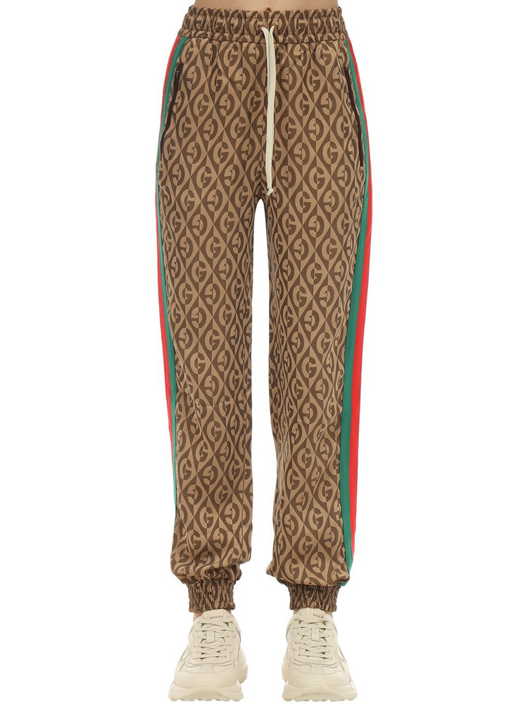 GUCCI Gg Jacquard Viscose Blend Track Pants in brown