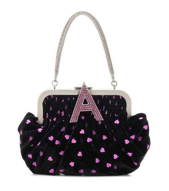 The Attico Embellished velvet clutch in black