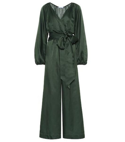 Kalita Venus cotton and silk jumpsuit in green